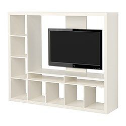 EXPEDIT TV storage unit - white - IKEA -with a curtain behind it to divide a room. Either white/sheer or bold coloured