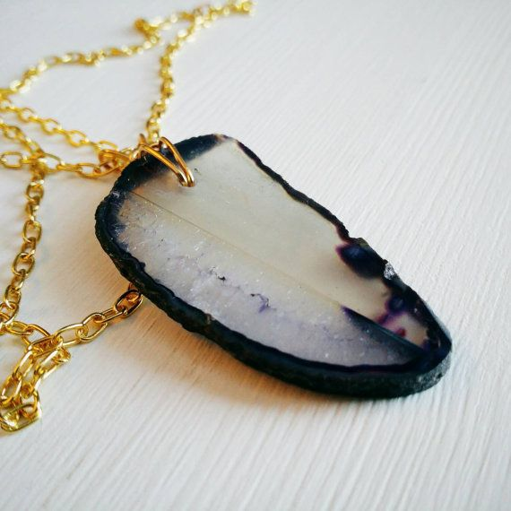 Dark Purple Agate Slice . Gold Layering Necklace