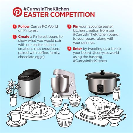 The sun is shining, beautiful flowers are out, and a four day weekend is almost upon us. The only thing that can make Easter better will be our Pinterest competition. For a chance to #win the ultimate baking set, show us what you'd pair with our Easter #Currysinthekitchen creations.T&Cs here: http://po.st/esTkC