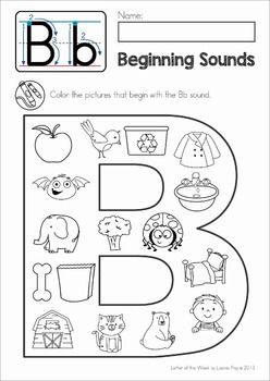 FREE Phonics Letter of the Week B. Beginning sounds Color It! page.