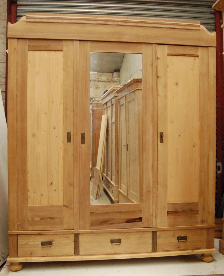 Large Antique Pine Wardrobe   Original Three Door Wardrobe   Breakdown  Knockdown   With Drawers Shelves And Rail   Restored Bare Wood Ready To Wax  Or Paint ...
