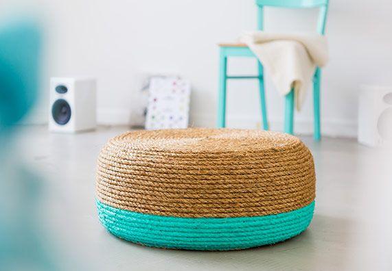Bequeme Sitzgelegenheit: einfache Schritte zum Reifenhocker aus Sisal und in der Farbe der Saison, Selbstbauanleitung für das Urlaubsgefühl zuhause.