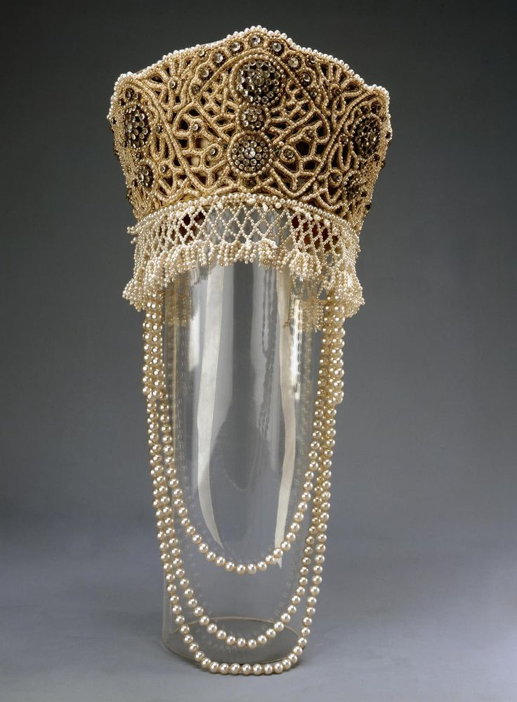 Fancy Dress of Princess Elena Golitzine (kokoshnik) | Russia | 1903 | brocaded satin, lace, fake pearls, rhinestones, sequins | Hermitage | Inventory #: ЭРТ-13441 | Worn for the celebration of the Romanov Dynasty Anniversary in 1903