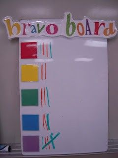 """Bravo Board- week winner is the """"Bravo Table"""" that gets a small trophy on their desk for the whole next week. I like the emphasis on group cooperation/teamwork. I've been volunteering with a teacher who has a whole bunch of table award games. It's genius!"""