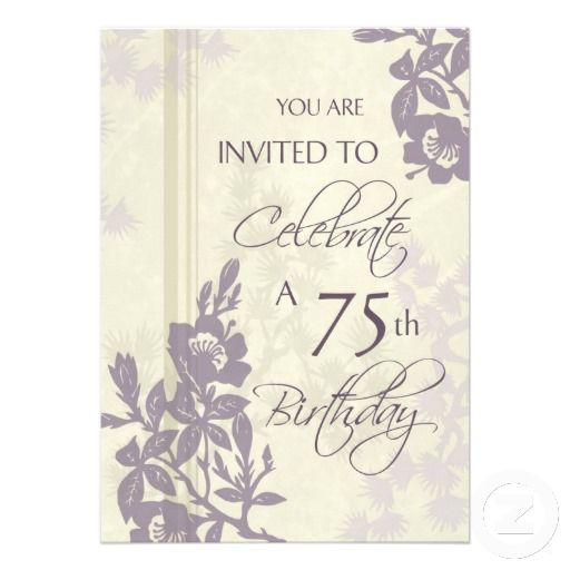 20 best 75th Birthday Party Invitations images – 75th Birthday Invitation Cards