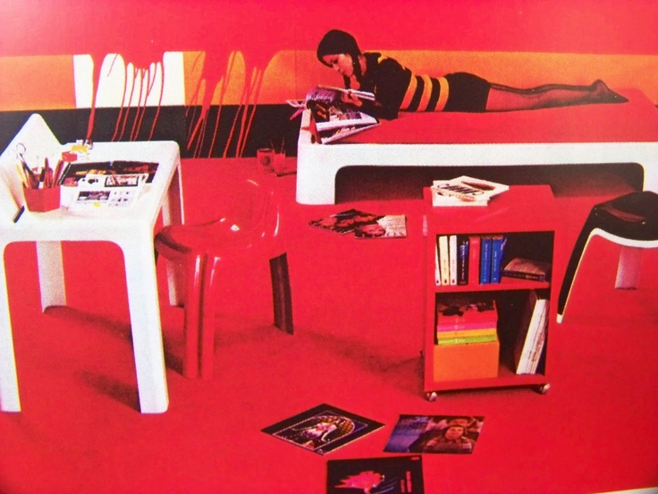 Red bedroom decor from Vintage French Prisunic design catalog