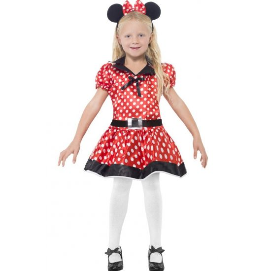 Minnie Mouse kostuum voor meisjes. Rood Minnie Mouse jurkje voor meisjes met witte stippen. Inclusief riem en haarband. Carnavalskleding 2015 #carnaval
