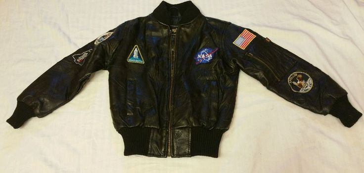 Alpha Industries Nasa Leather Flight Jacket 3T 3A382 Apollo II Kennedy Space Cen #AlphaIndustries #Jacket #DressyEveryday