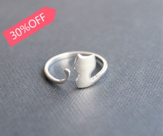 Big sale--30%OFF--Sterling silver ring,cute cat silver ring,silver cat adjustable ring