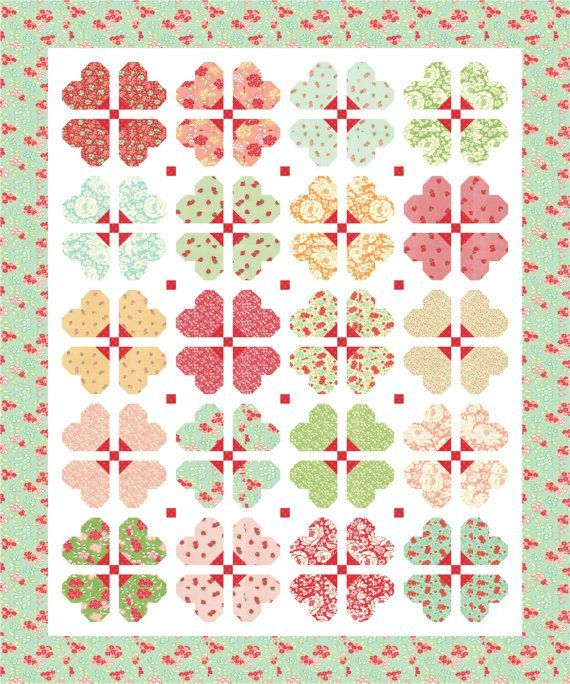 Darling Blossoms was designed with Hello Darling by Bonnie and Camille. This PDF quilt pattern includes seven pages of step-by-step instructions and color images. Darling Blossoms finishes at 60-1/2 x 72-1/2. Copyright @2016 Mountain Rose Designs This PDF quilt pattern may not be reproduced or distributed. Fabric requirements: 1/4 yard of (20) different fabrics for blocks 1/4 yard fabric for blocks, cornerstones 1/2 yard fabric for binding 1-3/4 yards fabric for blocks, sashing 1-3/4 yard...