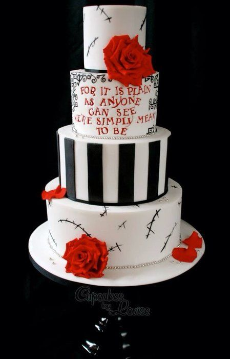 Nightmare Before Christmas wedding cake - by CupcakesbyLouise @ CakesDecor.com - cake decorating website