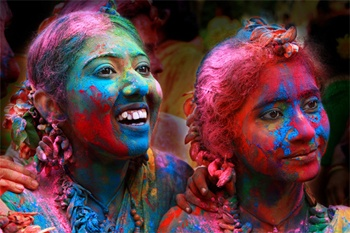 "India Holi Festival of Colors. Now I know where the ""Color Run"" got it's inspiration."