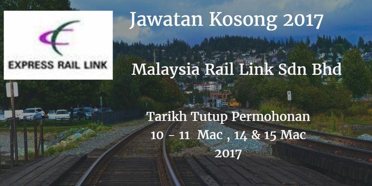 Jawatan Kosong Malaysia Rail Link Sdn Bhd 10 - 11 Mac14 & 15 Mac 2017  Malaysia Rail Link Sdn Bhd mencari calon-calon yang sesuai untuk mengisi kekosongan jawatan Malaysia Rail Link Sdn Bhd terkini 2017.  Jawatan Kosong Malaysia Rail Link Sdn Bhd 10 - 11 Mac14 & 15 Mac 2017  Warganegara Malaysia yang berminat bekerja di Malaysia Rail Link Sdn Bhd dan berkelayakan dipelawa untuk memohon sekarang juga. Jawatan Kosong Malaysia Rail Link Sdn Bhd Terkini Mac 2017 1. PEGAWAI MAKLUMAT Tarikh / Hari…