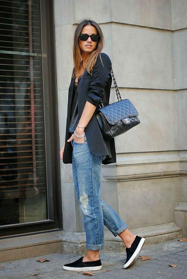 Boyfriend Jeans + Slip On sneaker+blazer