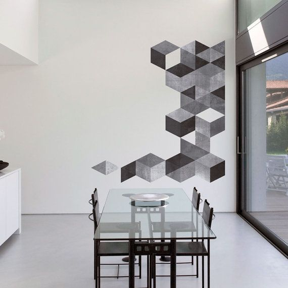 Metà del secolo moderno danese modernista adesivi decalcomanie - cubi cemento effetto - SKU:cucementsticker