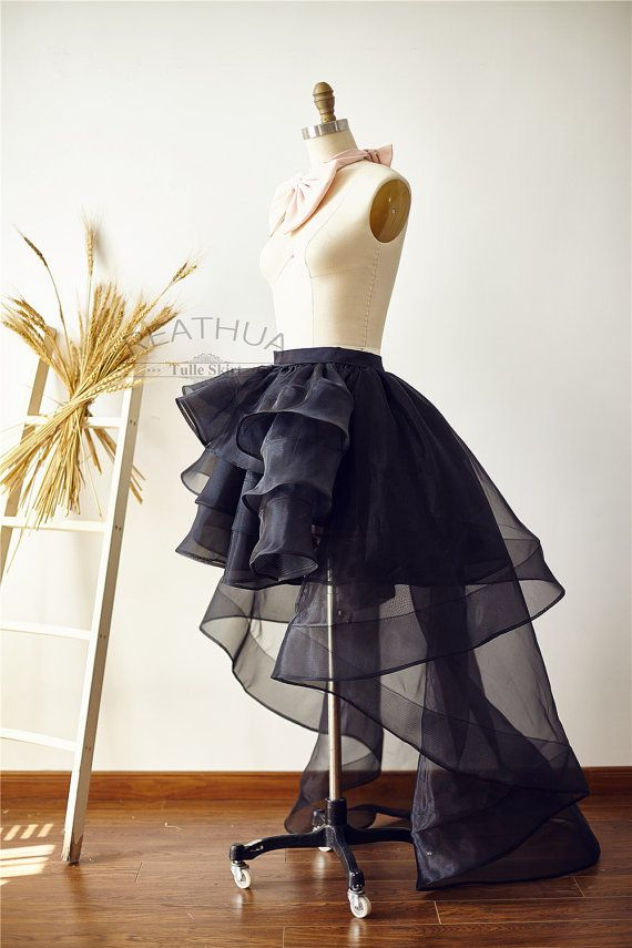 Black Horsehair Women OrganzaTulle Skirt Hi Low by reathua on Etsy