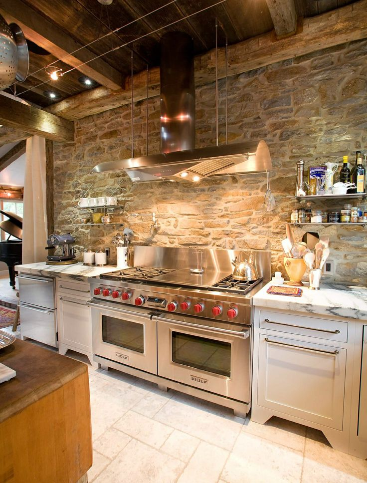 Exposed Stone Wall   Exposed Wood Ceiling   Stainless Steel, Marble, And  Whit Cabinets   Jarrett Design, LLC