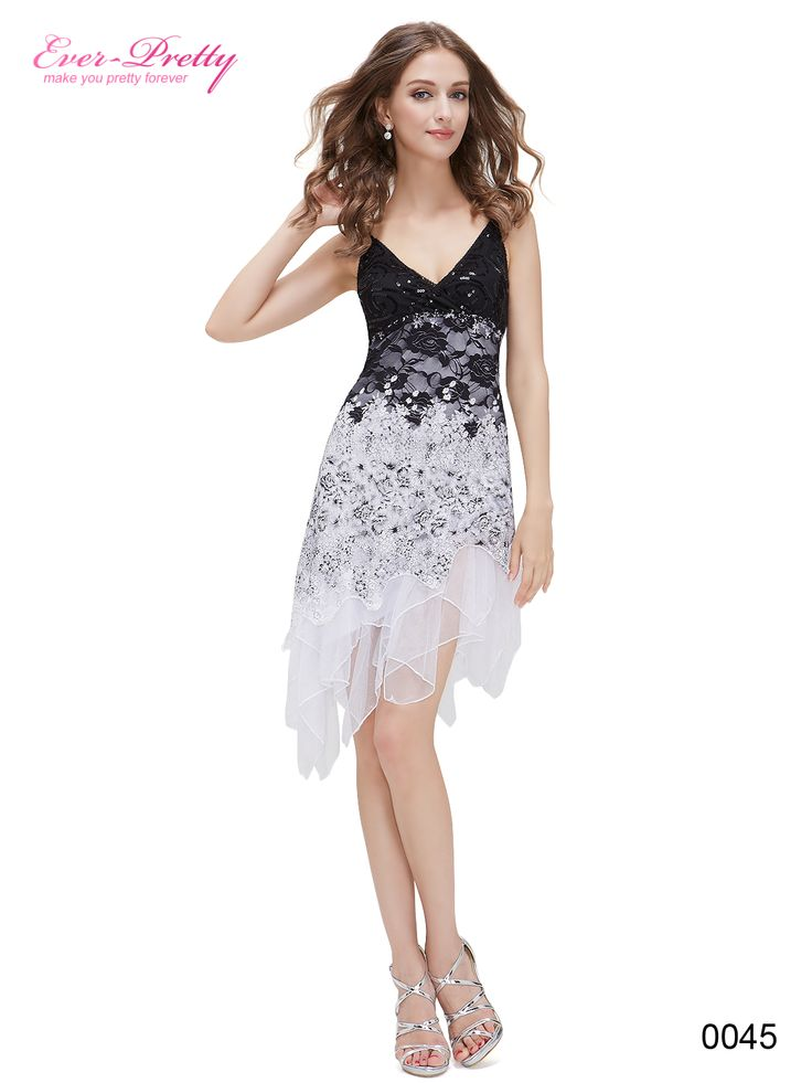 Ever-Pretty Flowing White Lace Cocktail Dress