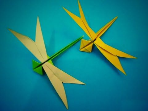 TUTORIAL ORIGAMI ANIMALS | How to fold an Easy origami DRAGONFLY - YouTube