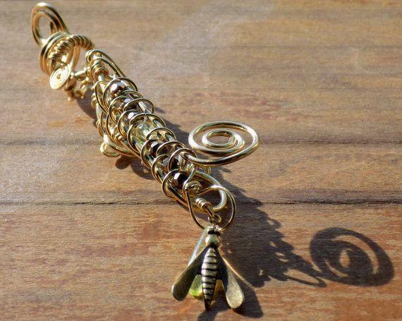Dread, perle - (1 pièce) « Firefly » tissé en laiton - UV brillant lumière noire perles pour Dreadlocks