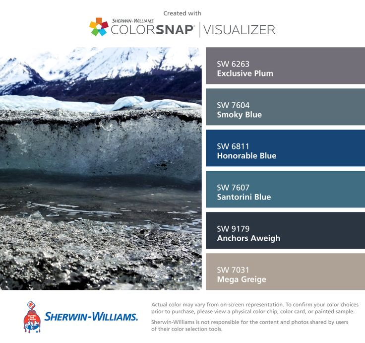 Colors   Combos   Palettes   Color Snap App   Sherwin-Williams   Exclusive Plum   Smoky Blue   Honorable Blue   Santorini Blue   Anchors Aweigh   Mega Greige