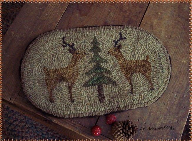 Woodland Reindeer Primitive Original Christmas Hand Hooked