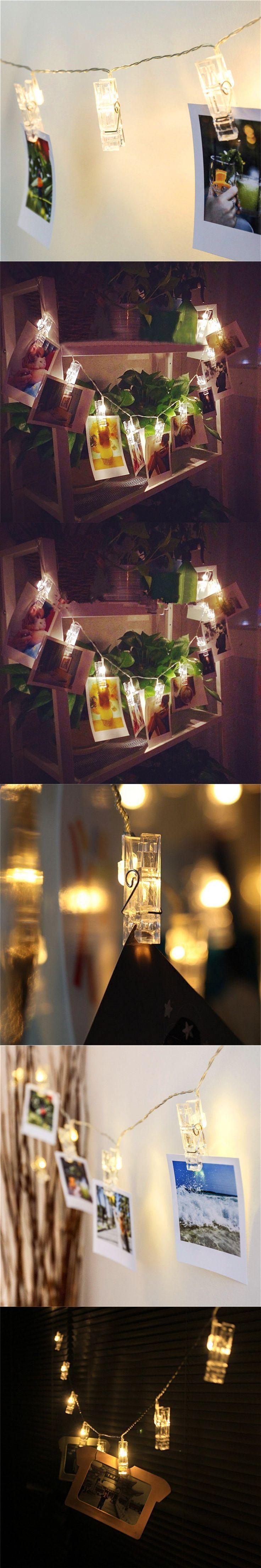 1X 1m/2m/3m/4m Led Photo Clip String Light, Battery-powered LED Card Photo clip string lights 3xAA battery Christmas lights