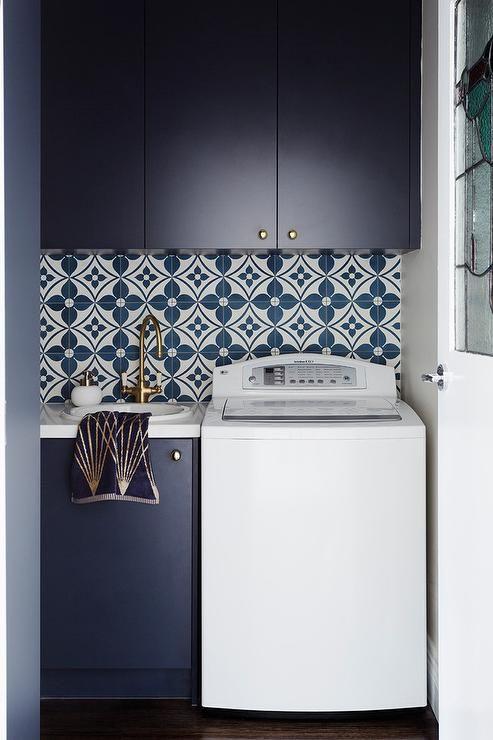 Blue laundry room tiles
