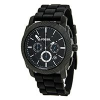 Fossil FS4487 Mens Machine Black Dial Black IP Steel Black Rubber Strap Chronograph Watch