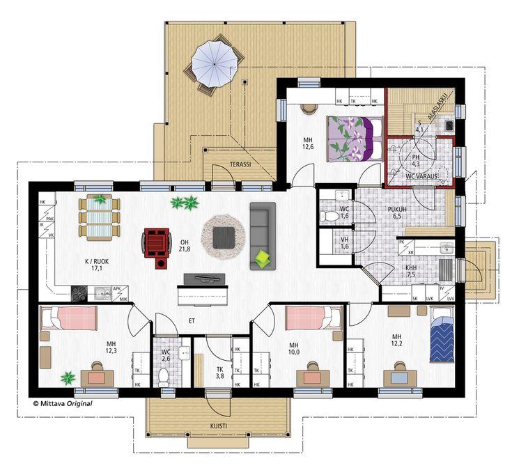 Tuomas 133 » Yksilölliset, korkealaatuiset talopaketit osaavasti, edullisesti, nopeasti ja toimitusvarmasti. Tässä paöjon kivoja ratkaisuja, huoneet kivasti sijoiteltu, eteisratkaisu. erill. pukutila. Liian iso tosin