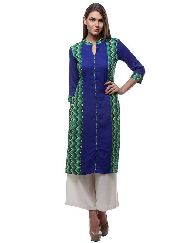 Scenic Blue Colored Rayon Casual Kurti With Printed Work