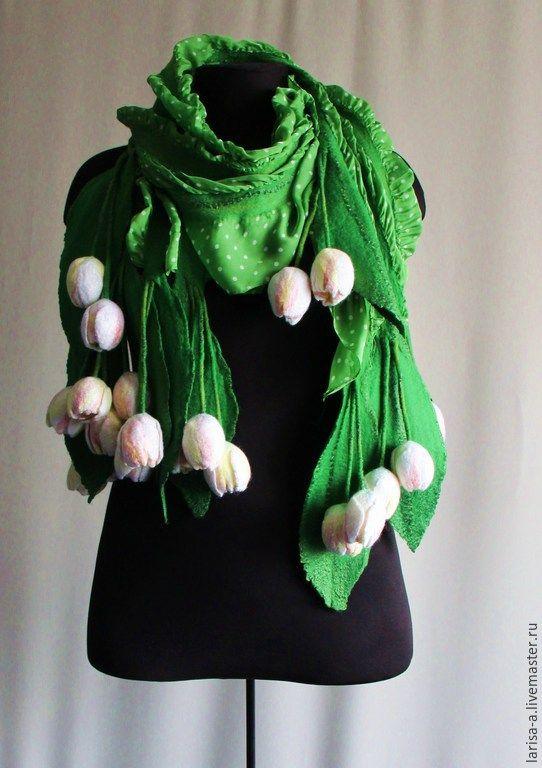 """Купить Валяный палантин """" Белые тюльпаны"""". - зеленый, цветочный, аксессуары, палантин, шарф"""