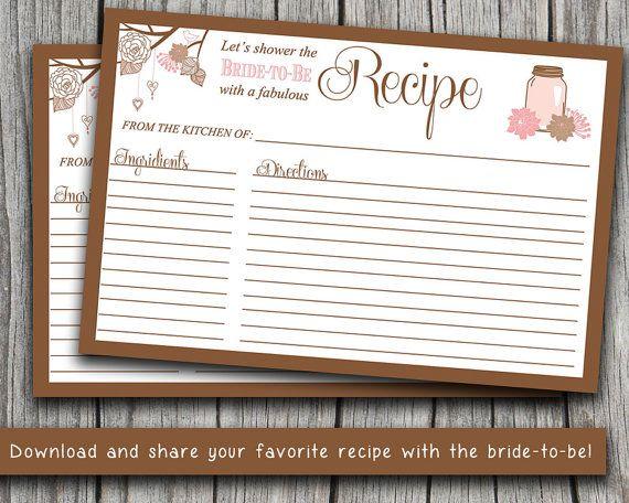 instant download bridal shower recipe card 4 x 6 mason jar recipe card printable