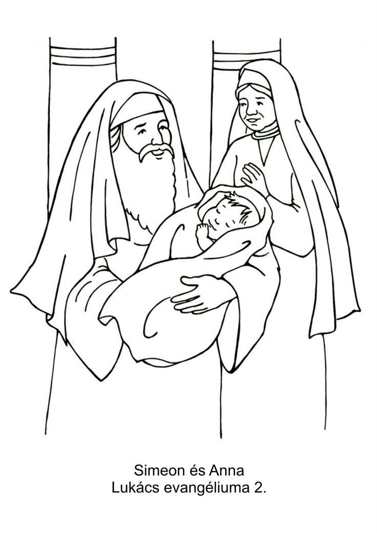 Simeon en Anna Kerst kleurplaten