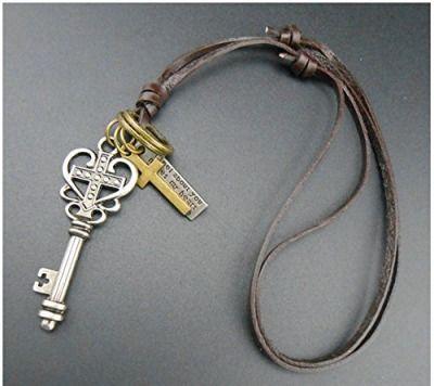 CargoMix(R)-Schmuck-Halskette-Herren-Leder-Kette-(einstellbar)-Schluessel-Kreuz-Leder-Maenner-und-Frauen-Silber-Farbe-Braun-Leder-Anhaenger-Halskette-Silber-Gold-Kreuz-Schluessel-Jahrgang-Einstellbar-59087556.jpg (500×445)