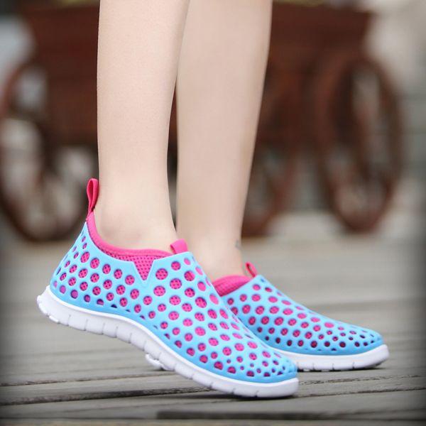 Mesh Match Color Slip On Flat Light Shoes