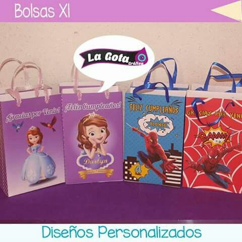 Bolsas Princesa Sofia y Spiderman