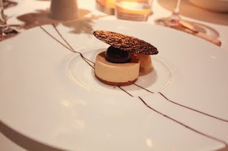 "French Laundry: PEANUT BUTTER ""BAVAROIS"" Crunchy Feuilletine, Milk Chocolate ""Whip"" and Gros Michel Banana Sorbet"