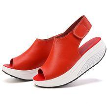 2017 D'été Femmes Sandales Peep Toe Casual Swing Chaussures Dames Cales de Plate-Forme Sandales Chaussures de Marche Femme Sandalias En Cuir Zapatos(China (Mainland))