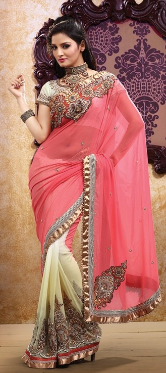105928, Party Wear Sarees, Embroidered Sarees, Georgette, Machine Embroidery, Resham, Zari, Thread, Stone, Zircon, Pink and Majenta, White and Off White Color Family