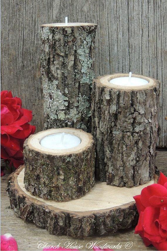 Tree Branch Candle Holders Set of 3 Rustic от ChurchHouseWoodworks
