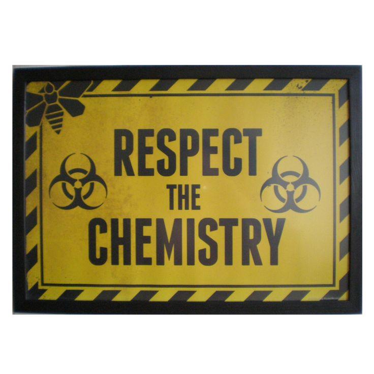 breaking bad 13x19 framed print respect the chemistry yellow print black frame delicate frame art print