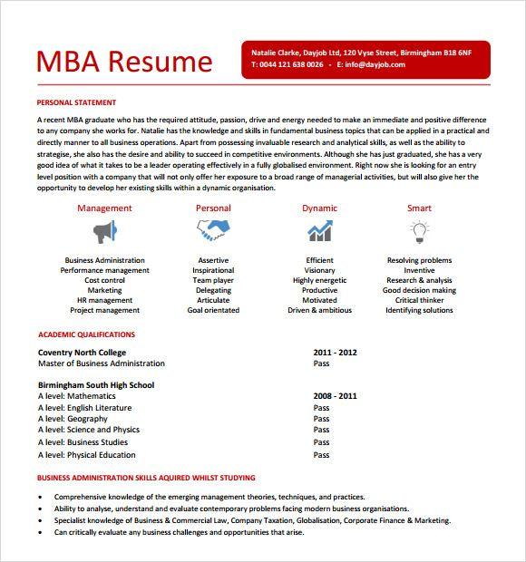 mba resume examples