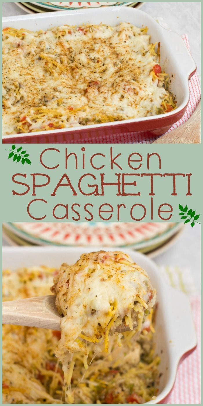 Spaghetti lovers will fall hard for this satisfying chicken casserole recipe the whole family will love!