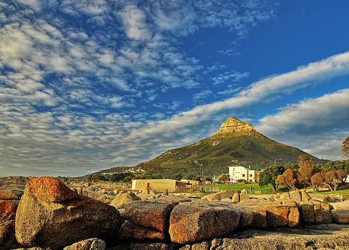 A picture of Lion's Head from the Camps Bay rocks. Some awesome cloud formations too!