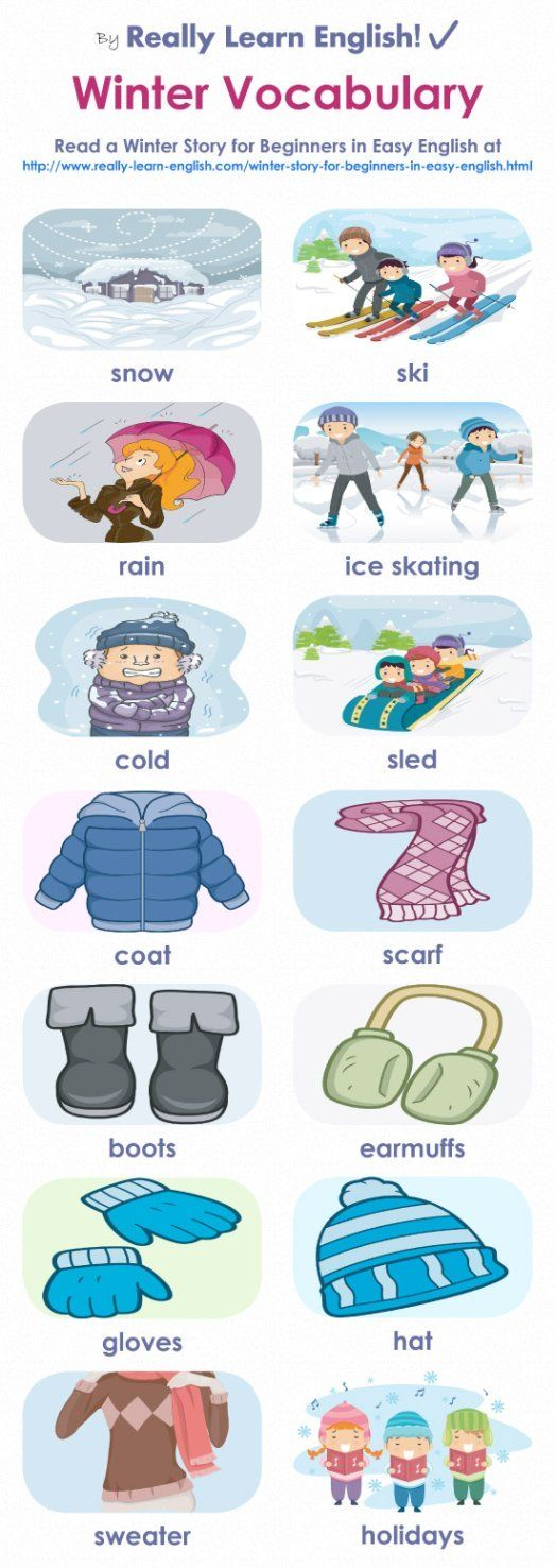 Practice winter vocabulary and basic grammar (sentence structure, positive sentences, negative sentences and yes/no questions) with a fun, illustrated story + graphic.