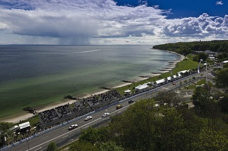 Classic Race Aarhus 2016 - View on the Beach Rd and the Aarhus Bay.