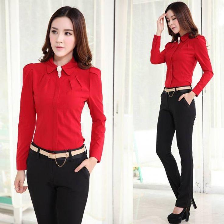 blusa de la gasa para mujer de la oficina formal