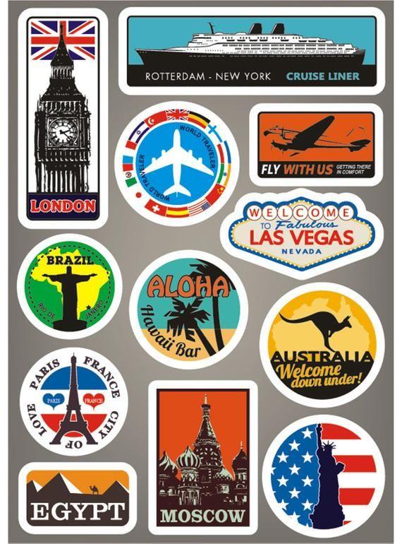 Las Vegas Visit Suitcase Vinyl Sticker SELECT SIZE Home & Garden Children's Bedroom Boy Décor Decals, Stickers & Vinyl Art