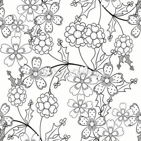 Раскраска черно-белый узор Иллюстрация страницы книги декоративные элементы — Стоковое изображение #104072824